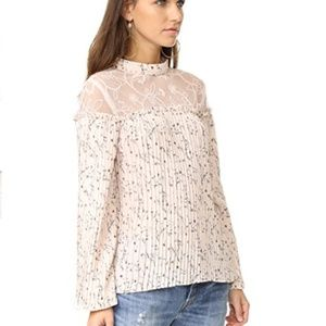 Moon River Pleated Pink Blouse